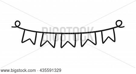 Hand Drawn Holiday Bunting. Doodle Birthday Garland Of Flags. Children Doodle Drawing. Isolated Vect