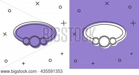 Set Bracelet Jewelry Icon Isolated On White And Purple Background. Bangle Sign. Vector