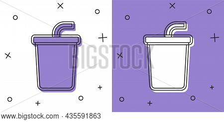 Set Paper Glass With Drinking Straw And Water Icon Isolated On White And Purple Background. Soda Dri