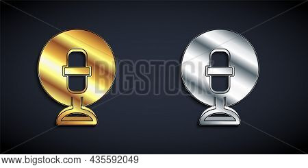 Gold And Silver Microphone Icon Isolated On Black Background. On Air Radio Mic Microphone. Speaker S