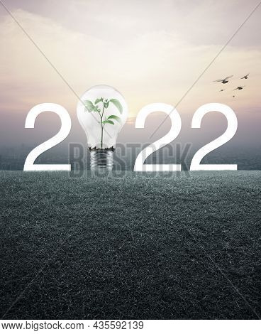2022 White Text And Light Bulb With Small Plant Inside On Green Grass Field Over Aerial View Of City