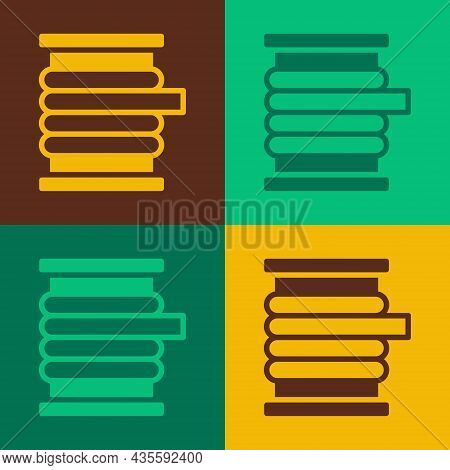Pop Art Wire Electric Cable On A Reel Or Drum Icon Isolated On Color Background. Vector