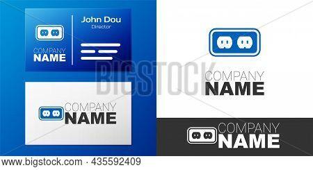 Logotype Electrical Outlet Icon Isolated On White Background. Power Socket. Rosette Symbol. Logo Des