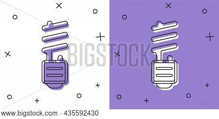 Set Led Light Bulb Icon Isolated On White And Purple Background. Economical Led Illuminated Lightbul