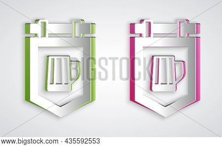 Paper Cut Street Signboard With Glass Of Beer Icon Isolated On Grey Background. Suitable For Adverti