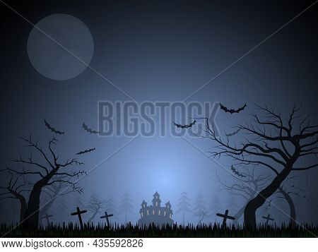 Halloween Festival Background Image The Mansion Behind The Cemetery With Trees And The Grass Is Deso
