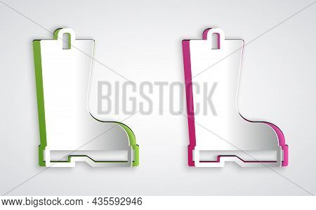 Paper Cut Waterproof Rubber Boot Icon Isolated On Grey Background. Gumboots For Rainy Weather, Fishi