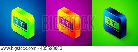 Isometric Ribbon In Finishing Line Icon Isolated On Blue, Purple And Green Background. Symbol Of Fin