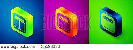 Isometric Sport Mechanical Scoreboard And Result Display Icon Isolated On Blue, Purple And Green Bac