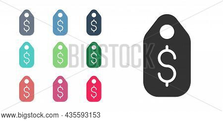 Black Price Tag With Dollar Icon Isolated On White Background. Badge For Price. Sale With Dollar Sym