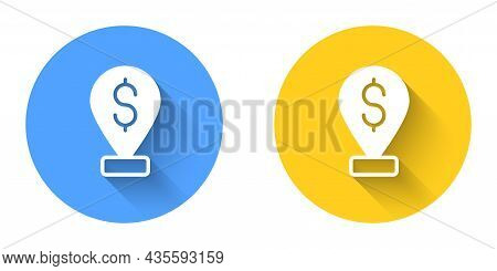White Cash Location Pin Icon Isolated With Long Shadow Background. Pointer And Dollar Symbol. Money