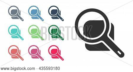 Black Magnifying Glass Icon Isolated On White Background. Search, Focus, Zoom, Business Symbol. Set