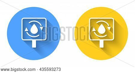 White Recycle Clean Aqua Icon Isolated With Long Shadow Background. Drop Of Water With Sign Recyclin