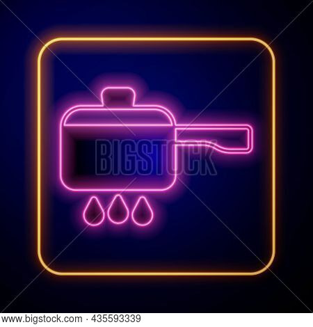 Glowing Neon Cooking Pot On Fire Icon Isolated On Black Background. Boil Or Stew Food Symbol. Vector