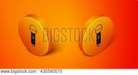 Isometric Microphone Icon Isolated On Orange Background. On Air Radio Mic Microphone. Speaker Sign.
