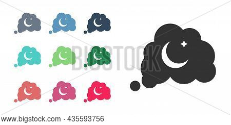 Black Dreams Icon Isolated On White Background. Sleep, Rest, Dream Concept. Resting Time And Comfort