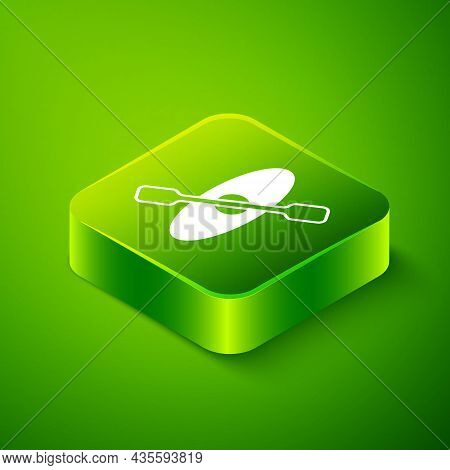 Isometric Kayak And Paddle Icon Isolated On Green Background. Kayak And Canoe For Fishing And Touris