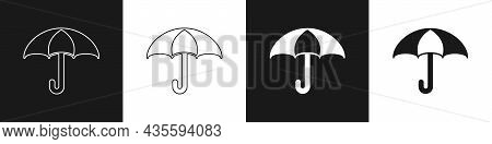 Set Umbrella Icon Isolated On Black And White Background. Insurance Concept. Waterproof Icon. Protec