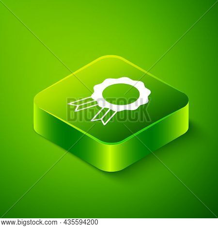 Isometric Online Education With Diploma Icon Isolated On Green Background. Diploma Online At Home. W