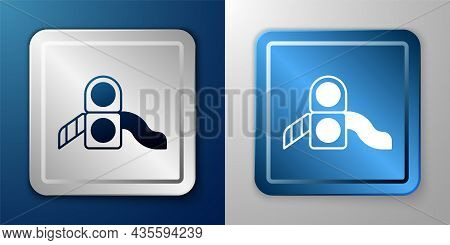White Slide Playground Icon Isolated On Blue And Grey Background. Childrens Slide. Silver And Blue S