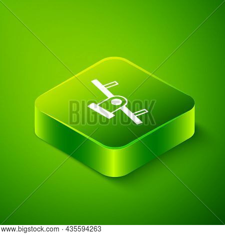 Isometric Seesaw Icon Isolated On Green Background. Teeter Equal Board. Playground Symbol. Green Squ