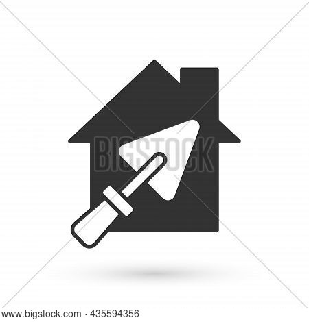 Grey House Or Home With Trowel Icon Isolated On White Background. Adjusting, Service, Setting, Maint