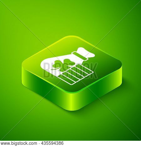Isometric Money Bag With Clover Trefoil Leaf Icon Isolated On Green Background. Happy Saint Patricks