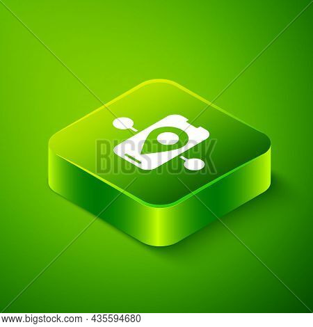 Isometric Route Location Icon Isolated On Green Background. Train Line Path Of Train Road Route With