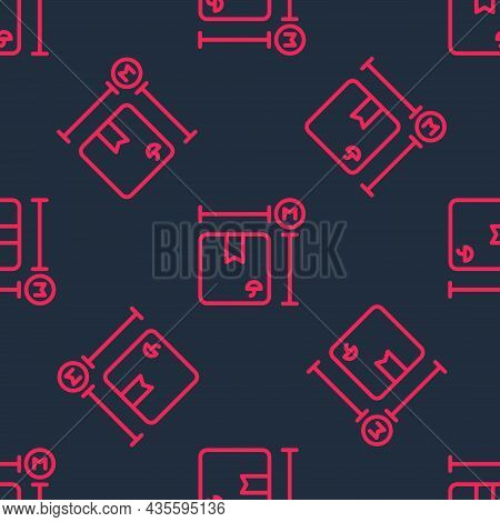 Red Line Carton Cardboard Box Measurement Icon Isolated Seamless Pattern On Black Background. Box, P