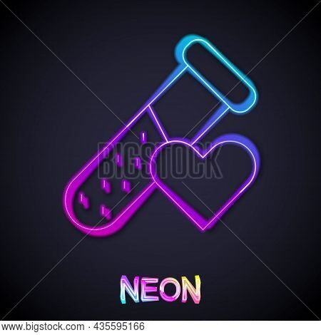 Glowing Neon Line Test Tube Or Flask With Blood Icon Isolated On Black Background. Laboratory, Chemi