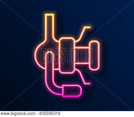 Glowing Neon Line Spinning Reel For Fishing Icon Isolated On Black Background. Fishing Coil. Fishing