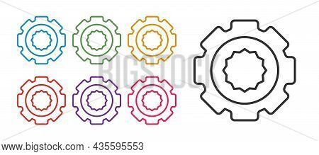 Set Line Gear Icon Isolated On White Background. Cogwheel Gear Settings Sign. Cog Symbol. Set Icons
