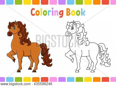 Cute Horse. Farm Animal. Coloring Book For Kids. Coon Character. Vector Illustration. Fantasy Page F