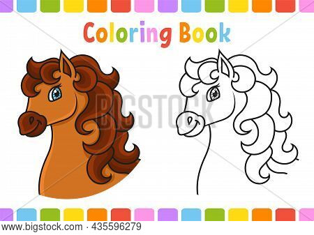 Coloring Book For Kids. Horse Animal. Cartoon Character. Vector Illustration. Fantasy Page For Child