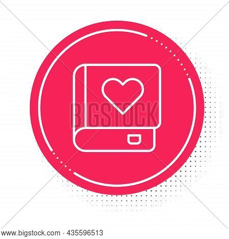 White Line Romance Book Icon Isolated On White Background. Red Circle Button. Vector