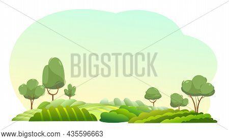 Rural Garden Hills. Farm Morning Cute Landscape. Funny Cartoon Design Illustration. Flat Style. Isol