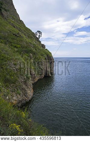 Bay Of Lake Baikal, Russia - August , 2021: Dangerous Place On The Great Baikal Trail Known As