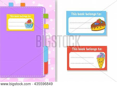 Book Label Stickers For Kids. The Rectangular Shape. Isolated Color Vector Illustration. Cartoon Cha