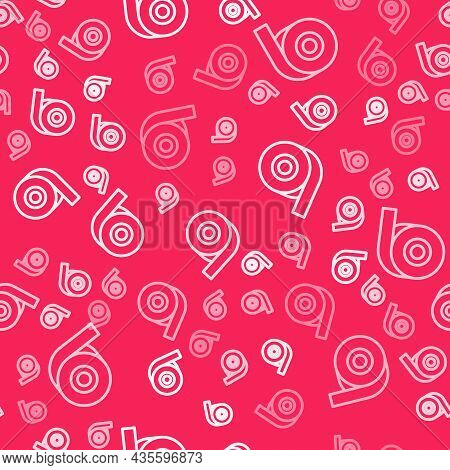 White Line Scotch Tape Icon Isolated Seamless Pattern On Red Background. Roll Adhesive Tape. Insulat