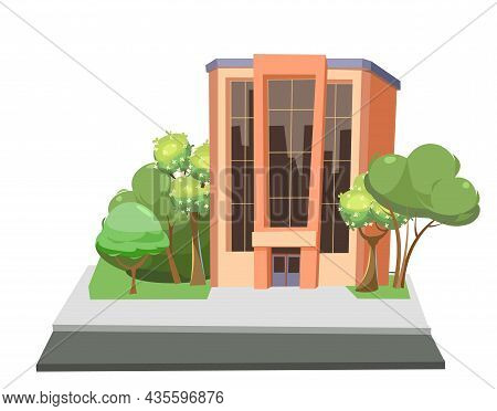 City Building. Among The Trees. Cartoon Fun Flat Style. Isolated On White Background. Supermarket, S