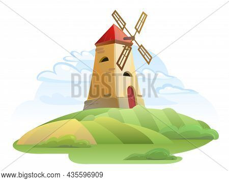Windmill. Garden And Rolling Hills. Rural Farm Landscape With Summer Clouds. Cute Funny Cartoon Desi