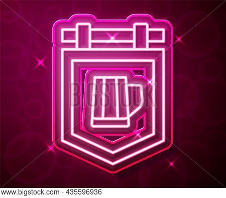 Glowing Neon Line Street Signboard With Glass Of Beer Icon Isolated On Red Background. Suitable For
