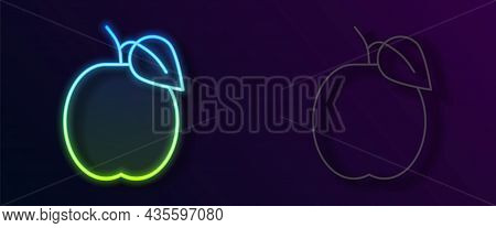 Glowing Neon Line Plum Fruit Icon Isolated On Black Background. Vector