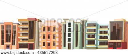 Town Street. Residential Area. Townhouses Along The Line. Cozy Buildings With Several Floors. Cartoo
