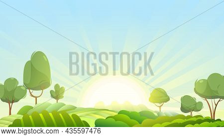 Garden And Rolling Hills. Rural Landscape With Fruit Trees And Farmer Hills. Cute Funny Cartoon Desi