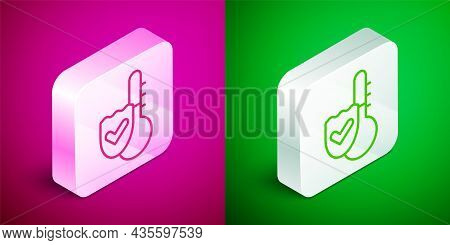 Isometric Line Meteorology Thermometer Measuring Icon Isolated On Pink And Green Background. Thermom