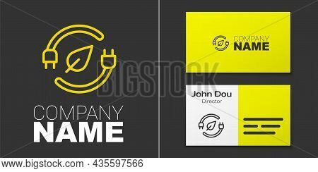 Logotype Line Electric Saving Plug In Leaf Icon Isolated On Grey Background. Save Energy Electricity