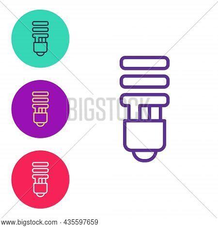 Set Line Led Light Bulb Icon Isolated On White Background. Economical Led Illuminated Lightbulb. Sav