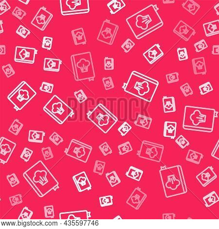 White Line Cookbook Icon Isolated Seamless Pattern On Red Background. Cooking Book Icon. Recipe Book