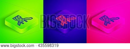 Isometric Line Slide Playground Icon Isolated On Green, Blue And Pink Background. Childrens Slide. S